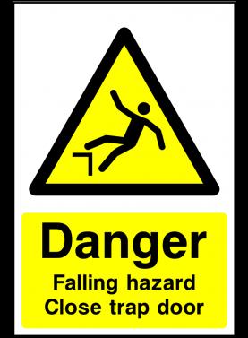 Falling hazard close trap door