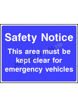 Safety Notice This Area Must be Kept Clear For Emergency Vehicles